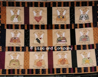 PRoVerB QUiLT - AnGeL QUiLT - EmBRoiDeReD QUiLT - PDF ePattern - Primitive and Whimsical