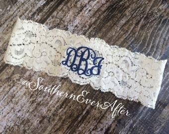 MONOGRAMMED GARTER / Keepsake only / Navy Blue Garter / lace garter / toss garter / Something Blue / vintage garter