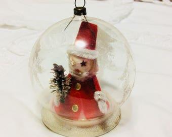 Vintage German Glass Diorama Ornament with Spun Cotton Santa Mica Bottle Brush Tree Christmas