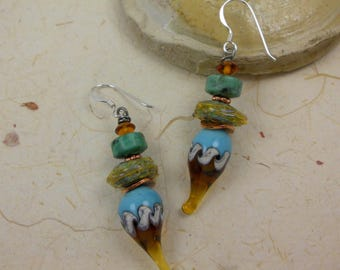 Handmade organic lampwork earrings, ooak lampwork earrings, artisan dangle earrings, organic earrings