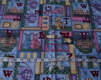 Leslie Beck Alphabet ABC Blocks Cotton Fabric -  1 1/3 yard