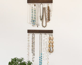 silver and brown wood jewelry display racks (set of three - two necklace, one earring)