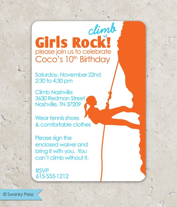 Rock Climbing Girls Rock Birthday Invitation