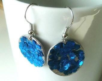 Blue Glitter earrings and silver/earrings