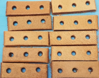 10 Leather spacers with 3 holes Ethnic Tribal Native American