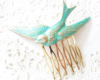 Aqua Flying Sparrow Hair Comb - Golden Turquoise Patina Large Sparrow Hair Accessory - Large Bird Hair Comb - Woodland Swallow Hair Comb