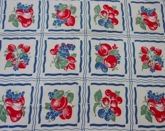 """Vintage Feedsack Fabric Huge 36 1/2 x 45 1/2"""" Bright Fruit, Red,White,Blue"""