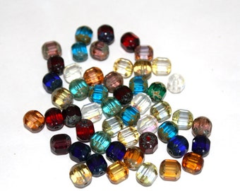 8 mm Mixed Color Cathedral/Tube Beads