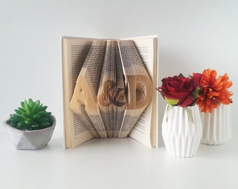 Folded Book Art - 1st Wedding anniversary - Wedding present - Anniversary gift - Gift for her - Boyfriend gift - Personalized gift - 001