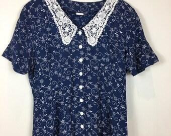 Vintage Floral Dress, 90s Dress, Floral Midi Dress, Boho Dress, Retro Dress, Lace Dress, Summer Dress, Vintage Dress,