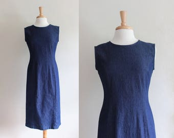 Vintage 1990s Stretch Denim Sheath Dress