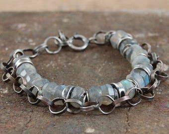 labradorite silver bracelet, 925 sterling silver multi strand chain bracelet, handmade handcrafted chain bracelet