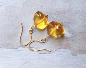 Gold Baltic Amber Earrings - Dainty Gold Earrings - Golden Honey Earrings - Natural Amber Earrings - Simple Elegant Earrings