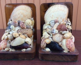 Vintage Sea Shell Bookends