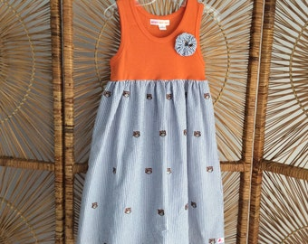AUBURN TANK DRESS  .Navy seersucker with embroidered Tigers..or Paws..matched with orange tank...sizes 6 months - 10 years!
