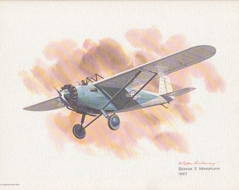 No.23 Breese 5 Monoplane  - Vintage United Airlines Nixon Galloway Print (P165)
