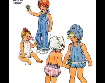SIMPLICITY 6418 Sewing Pattern PLAYSUIT Ruffled Romper Bonnet Hat Kids Child Girls Sunsuit Play Suit *REPRODUCTION* Toddler pk ~6mths~1~2~3~