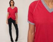 Ringer Tee Shirt 80s T Shirt V NECK Tshirt Red Shirt Hipster Retro Tee Raglan Sleeve Striped TShirt Sports Vintage Medium