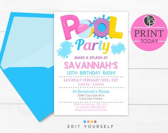 GIRL POOL PARTY Invitation, Instant Download Invitations, Pool Party Invitation, Pool Party Invitations, Pool invitation, Pool Party Girl