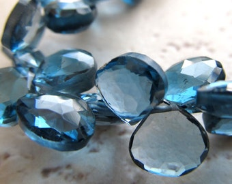 London Blue Topaz Faceted Heart Briolettes Beads 7mm - Blue Topaz Briolette 4 inch Strand