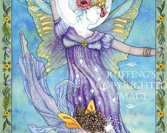 Moon and Star Fairy 8.5 x 11 Giclee Fine Art Print Signed Elizabeth Ruffing