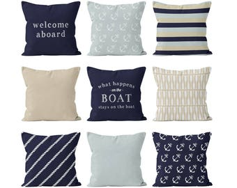 Boat Pillow Covers Set Mix and Match, Gift for Boater, Boat Boating Decor, Gift for Sailors, Neutral Beige Navy Blue Mist Pillow Covers Set
