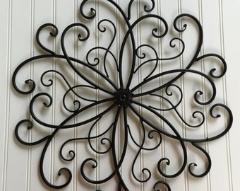 Lovely Metal Wall Art  Black Metal Wall Hanging   Large Metal Wall Decor  As Is