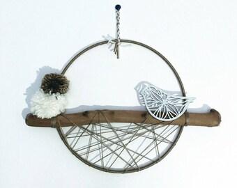 Bird on his drift wood, hemp