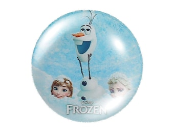 Set of 2, Frozen round cabochons 30mm glass