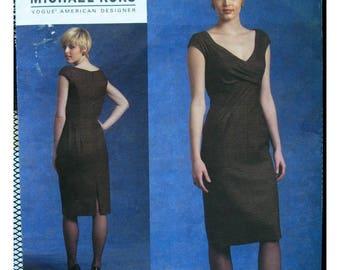 Michael Kors Little Black Dress Pattern, V-neck, Lined, Pleated Bodice, Fitted, Sleeveless, Vogue Designer 1117 UNCUT Size 12 14 16 18