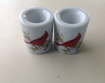 Funny Design Candle Holders with Red Cardinal Design 1970's