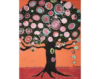 Love Birds Tree - Aceo Giclee print mounted on Wood (2.5 x 3.5 inches) Folk Art  by FLOR LARIOS