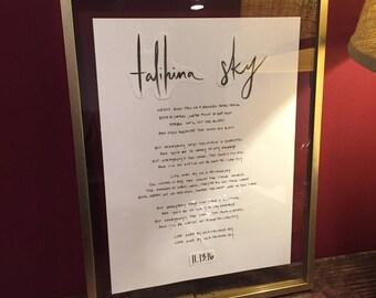Custom Handwritten Lyric   Custom Song   First Dance   Wedding or Anniversary Gift   Baby's Room   Lullaby   Art   Calligraphy