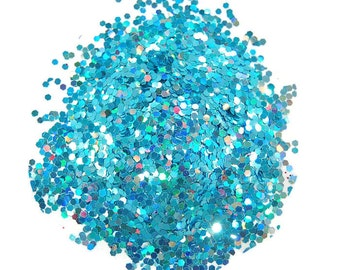 Turquoise Glitter, SOLVENT RESISTANT, HOLOGRAPHIC Glitter, 0.062 Hex, Slime Glitter, Nail Glitter, Glitter Nail Polish, Glitter Crafts, Blue