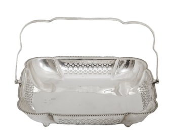 Square Reticulated Silverplate Basket Made in England