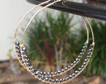 Gray Hematine Hoop Earrings, 14Kt Gold Filled or Sterling Silver, Hand Hammered Wire Wrapped Earrings, Statement Earrings, Unique Gift