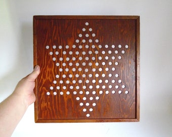 "Sale - Mid Century Homemade Wooden Chinese Checkers Game Board - 16"" Square"