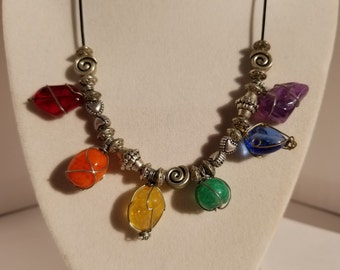 Rainbow necklace with wire wrapped beads
