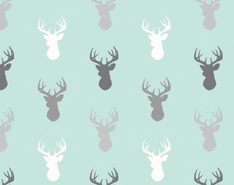 Crib Sheet- Mint and Grey Deer - Woodland Nursery - Baby Boy Bedding - Baby Girl Bedding - Gender Neutral baby Bedding - Mint and Gray