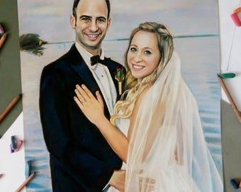 Wedding portrait painting Custom Portrait pastel Family Portrait Custom Couple Portrait  custom portrait drawing from photo Wedding gift