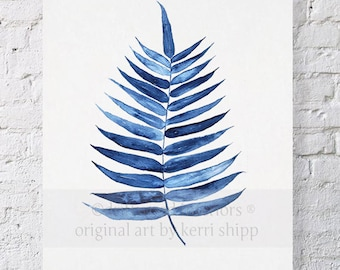 Palm Leaf Tropical Wall Art Watercolor Print 11x14 - Blue Palm Wall Art - Watercolor Art Print - Giclee Print