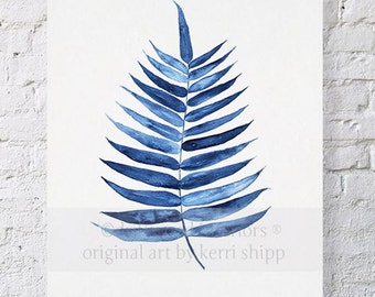 Palm Leaf Tropical Wall Art Watercolor Print 11x14 - Blue Palm Wall Art - Watercolor Art Print - Giclee Print