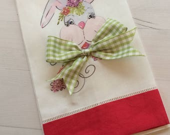 Easter bunny guest towel, housewarming gift, hostess gift, tea towel