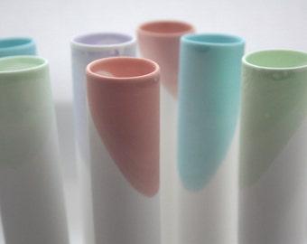 Tube vase made from English fine bone china in 4 pastel colours - bud vase