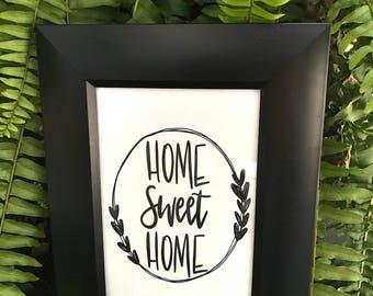 Home Sweet Home print, farmhouse print, hand lettered wall art, hand lettered print, farmhouse decor, quote print, home print, wall art
