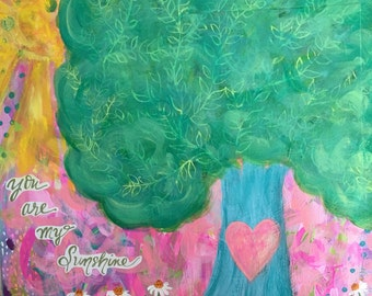 You are my Sunshine Painting for Girls Room, Customizable Tree Painting, Pink, Light Blue, Green, Yellow, Whimsical Acrylic Painting, 12x12