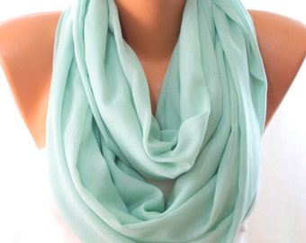 Mint Silver Shimmery Lightweight Plain Cotton Scarf Infinity Scarf Women Fashion Accessories Scarves Gift Ideas For Her Summer Celebrations