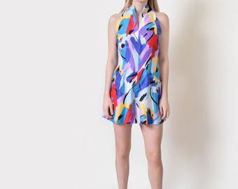 Abstract Brushstroke Romper Vintage Halter Playsuit Onesie Jumpsuit S