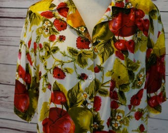 Vintage Fruit Print Blouse