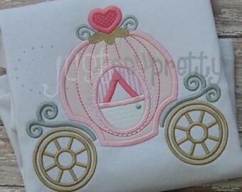 Princess Carriage Embroidery Applique Design